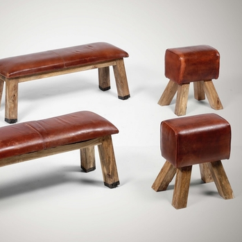 Two benches and two poufs with wooden structure and leather upholstery