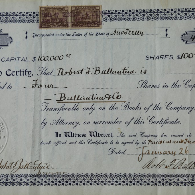 The first ever issued share certificate of Ballantine & Co