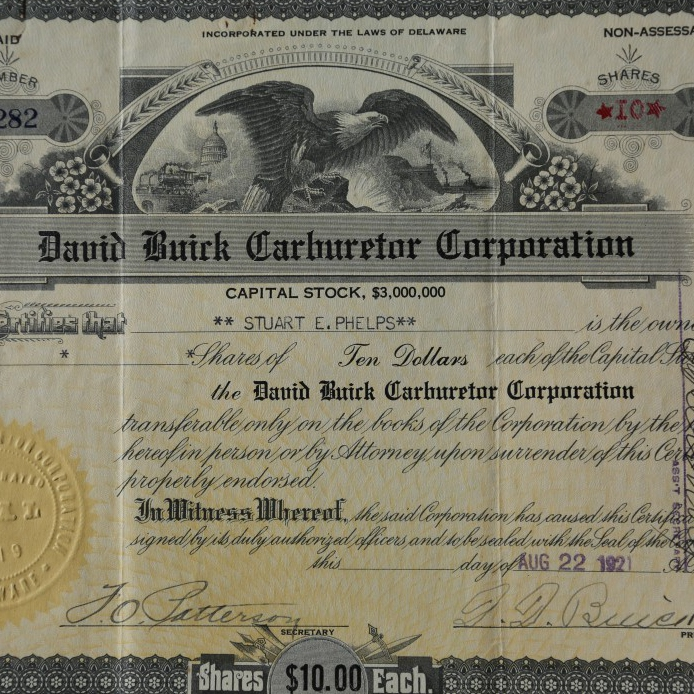 An original David Buick Carburetor Corporation Stock Certifica