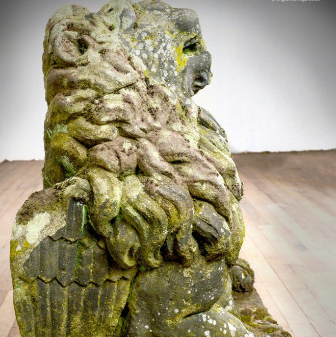 Early stone winged lion gargoyle with hole for water spout