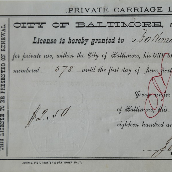 An original Certificate for a Private Carriage License from the City of Baltimore