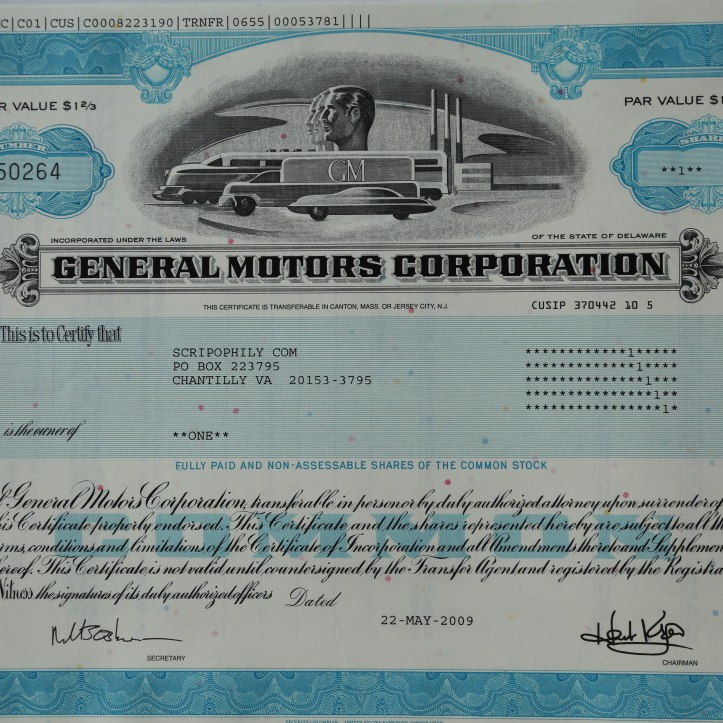 An original General Motors Corporation Stock Certificate