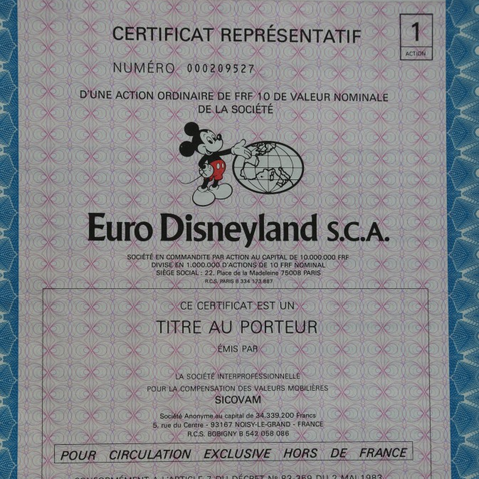 An original Euro Disneyland Certificate (Now Disneyland Paris)