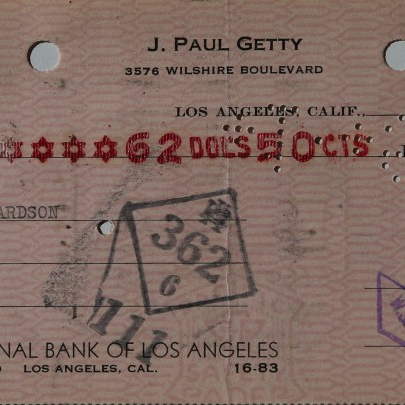 An original Paul Getty handsigned check