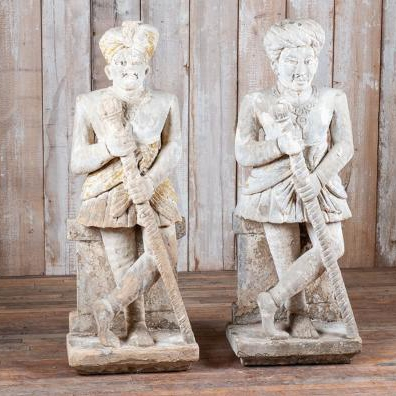Antique stone watchmen figures - hand-carved in stone