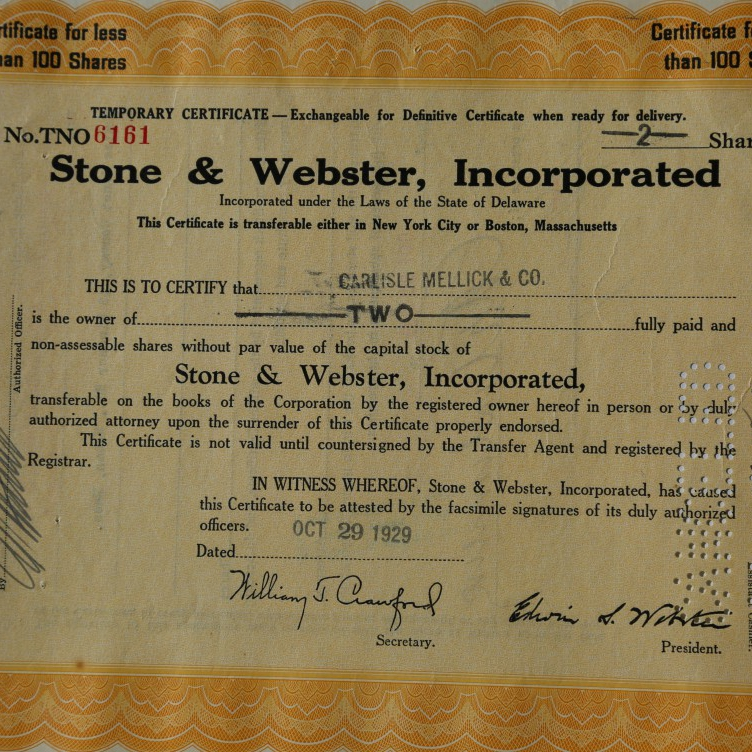 An original Stone & Webster Stock Certificate