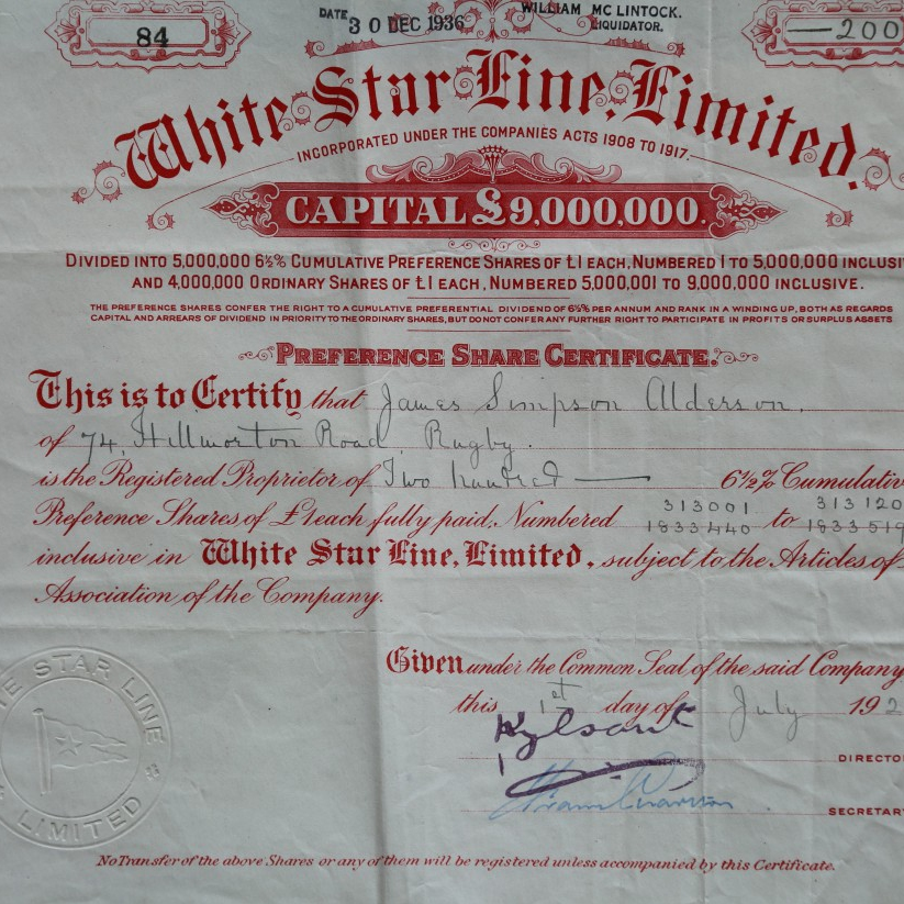 An original White Star Line, Limited stock certificate