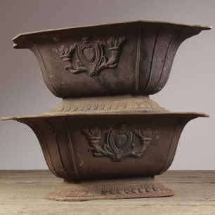 19th Century Cast Iron Urn Planters