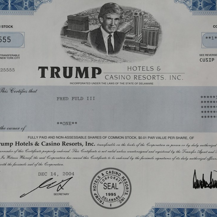 An original Trump Hotels and Casino Resorts, Inc. Stock Certificate
